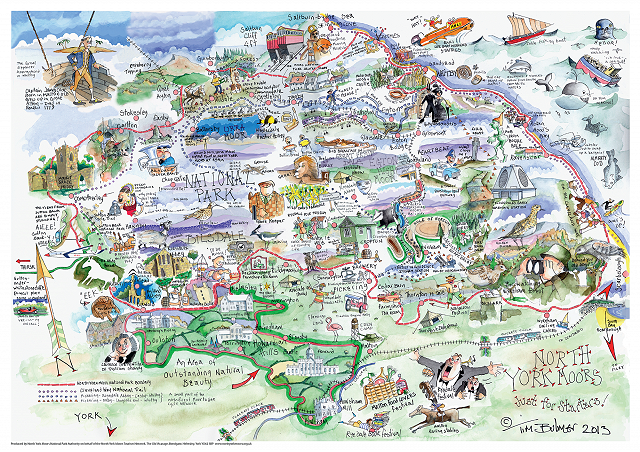 North york moors map drawn by tim bulmer